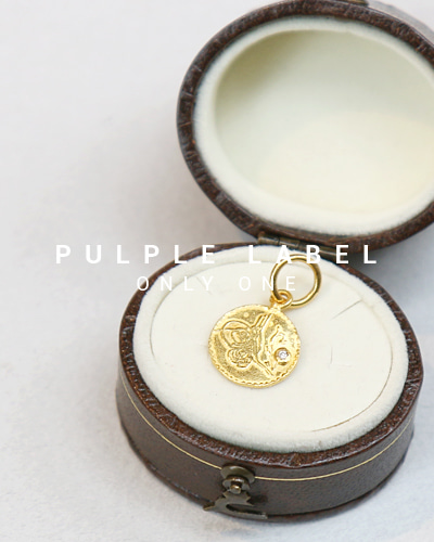 [Purple LABEL #14] 24K gold Diamond Mini Coin Pendant