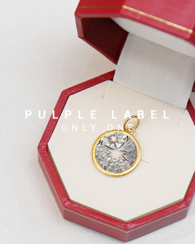 [Purple LABEL #14] 24K + Silver Compass Coin Diamond Pendant