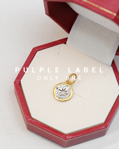 [Purple LABEL #14] 24K + Silver Mini Compass Coin Pendant