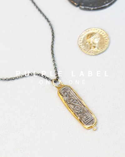 [Purple LABEL #14] 24K + Silver Mosque Pattern Diamond Pendant