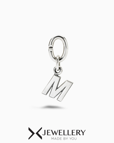 M, Silver Link Charm