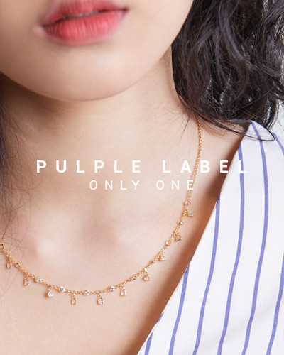 [Purple LABEL #15] Princess White Sapphire 18K Necklace