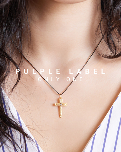 [Purple LABEL #15] Silver Cross Diamond Pendant  (24K gold plated)