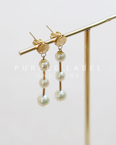 [Purple LABEL #20] 18K Smile Drop Pearl Earrings