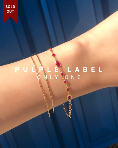 [Purple LABEL #18] 18K Princess Oval Ruby Bracelet