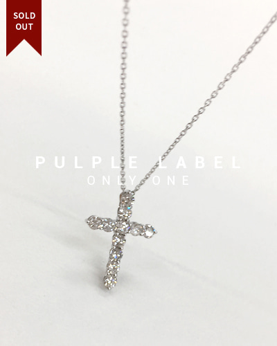 [Purple LABEL #18] 18K Simple Cross Diamond Pendant