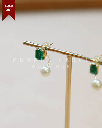 [Purple LABEL #20] 18K Twoway Emerald & Pearl Earrings