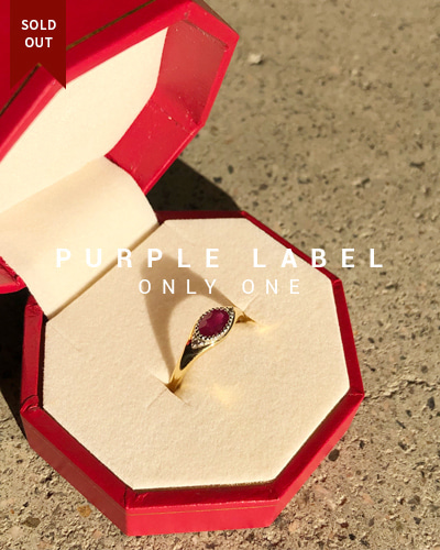 [Purple LABEL #19] 18K + PT Oval Ruby Diamond Ring